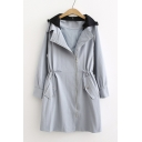 Chic Long Sleeve Drawstring Waist Offset Zip Closure Trench Coat with Contrast Detachable Hood
