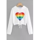 LOVE Letter Rainbow Color Heart Print Drawstring Hem Long Sleeve Cropped Hoodie