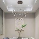 Contemporary Draped Ribbons Large Halo Chandelier Brown Finish 1-Light to 4-Light Tiered Orbicular Ceiling Fixture for Resturant Buffet Kitchen