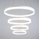 Contemporary Dining Room Kitchen Foyer Led Round Chandelier Ambinet Warm White Light 4 Ring/5 Ring Frosted Led Pendant Light in White