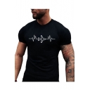 Plane Print Round Neck Short Sleeve Slim T-Shirt