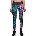Floral Print Elastic Waist Skinny Yoga Sports Leggings