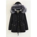 Faux Fur Trim Hood Plain Long Sleeve Zip Up Drawstring Waist Hooded Coat