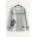 Fish Letter Embroidered Contrast Striped Round Neck Long Sleeve Sweatshirt