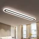 Ultra Thin 20-92W Modern Linear Ceiling Lights White Acrylic Linear Surface Mount Lighting for Bedroom Living Room Cloakroom (Warm White)