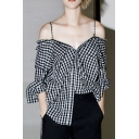 Chic Off The Shoulder Plaid Long Sleeve Button Front Shirt