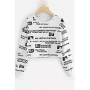 Letter Photo Print Round Neck Long Sleeve Cropped Sweatshirt
