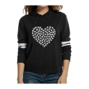 Paw Heart Print Contrast Striped Long Sleeve Casual Hoodie