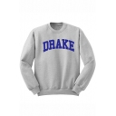 DRAKE Letter Print Round Neck Long Sleeve Pullover Sweatshirt
