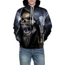 Skull Lightning Print Long Sleeve Oversized Hoodie