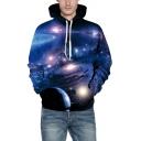 Digital Blue Universe Printed Long Sleeve Casual Loose Hoodie