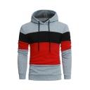 Trendy Color Block Long Sleeve Slim Fitted Casual Hoodie