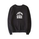 I NEED Letter Alien Print Round Neck Long Sleeve Sweatshirt