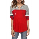 Lace Up Front V Neck Long Sleeve Color Block Leisure Tee
