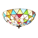 Multi-Colored Diamond Pattern Bowl Shade LED Flush Mount Ceiling Light with Jewels