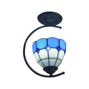 Tiffany Mediterranean Style Semi Flush Mount Ceiling Light  with Blue&White Checkered Bowl Shade