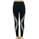 Laser Reflective Striped Elastic Waist Dance Leggings