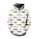 Funny Fish All Over Print Long Sleeve Loose Hoodie