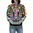 3D Drawing Tiger Print Long Sleeve Loose Unisex Hoodie