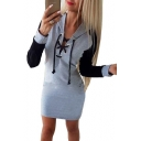 Color Block Lace Up Front Long Sleeve Slim Mini Hoodie Dress
