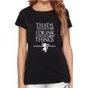 THAT'S Letter Animal Print Round Neck Short Sleeve T-Shirt