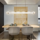 Ultra Thin White Acrylic Panel LED Pendant Light 5 Sizes Available 32/48/64/80/96W Modern Linear LED Pendant Lighting for Dining Table Kitchen Office