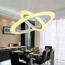 Contemporary DIY Multi Ring Pendant Frosted Shade Novelty White Halo Led Chandelier Dining Room Kitchen Table Light Fixture