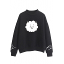 Korean Star Cartoon Sheep Print Mock Neck Long Sleeve Sweatshirt