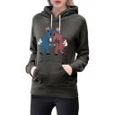 Comic Animal Print Long Sleeve Loose Hoodie for Woman