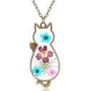 Dried Flower Cat Pattern Pendant Chain Necklace