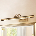 Arc Arm LED Wall Lights 8/11/15W LED Neutral Light Antique Brass LED Cylinder Vanity Lights in Acrylic Shade 3 Sizes Available for Bathroom Mirror Cabinet