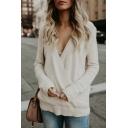 Sexy V Neck Long Sleeve Plain Rib Knit Trim Loose Sweater