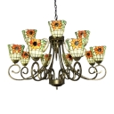 Sunflower Pattern Bowl Shade 12-Light Inverted Chandelier in Rustic Style