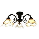 3/5-Light Tiffany Art Glass Pink Flower Shade Semi Flush Mount Ceiling Fixture for Living Room Restaurant