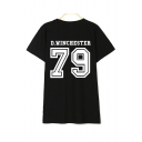 Unisex Number Letter Print Round Neck Short Sleeve T-Shirt