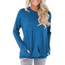 Basic Plain Round Neck Long Sleeve Soft T-Shirt with Pockets