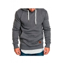 Essential Plain Long Sleeve Casual Sports Hoodie for Men
