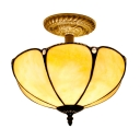 2-Light Beige Flower Shade Tiffany Semi-Flush Ceiling Fixture with Bronze Finish Canopy