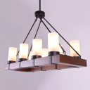 29.92'' Long Industrial Vintage Style 8 Light 1 Tier LED Chandelier with Alabaster Glass Shade