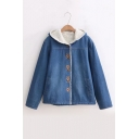 Bear Embroidered Button Placket Long Sleeve Sherpa Denim Hooded Coat