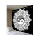 Digital Floral Print Tapestry Bedroom Hanging Curtain