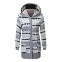 New Arrival Geometric Button Front Long Sleeve Hooded Cardigan