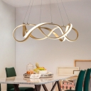 Room Decorative Lights Polished Brass Twist LED Pendant Light 33/83/152W Ultra Modern Multi Ring Chaos LED Chandelier LED Warm White Neutral Light