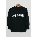 SPOOKY Letter Print Round Neck Long Sleeve Sweatshirt