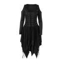 Lace Patchwork Round Neck Cold Shoulder Long Sleeve Lace Up Front Asymmetric Midi Dress