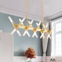 Novelty LED Scissors Chandelier Metal Gold Led Pendant Lighting 16 Light/20 Light Home Deco Glass Stick Hanging Bar Light (29.53