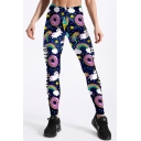 Doughnut Rainbow All Over Print Elastic Waist Skinny Leggings