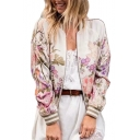 Floral Print Contrast Striped Trim Stand Collar Raglan Long Sleeve Zip Up Jacket