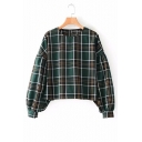 Vintage Plaid Round Neck Lantern Long Sleeve Blouse