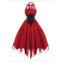 Vintage Lace Patchwork Bow Tie Front Halter Midi A-Line Dress